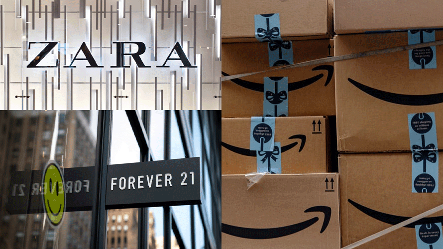 zara and forever 21 signage, amazon prime boxes
