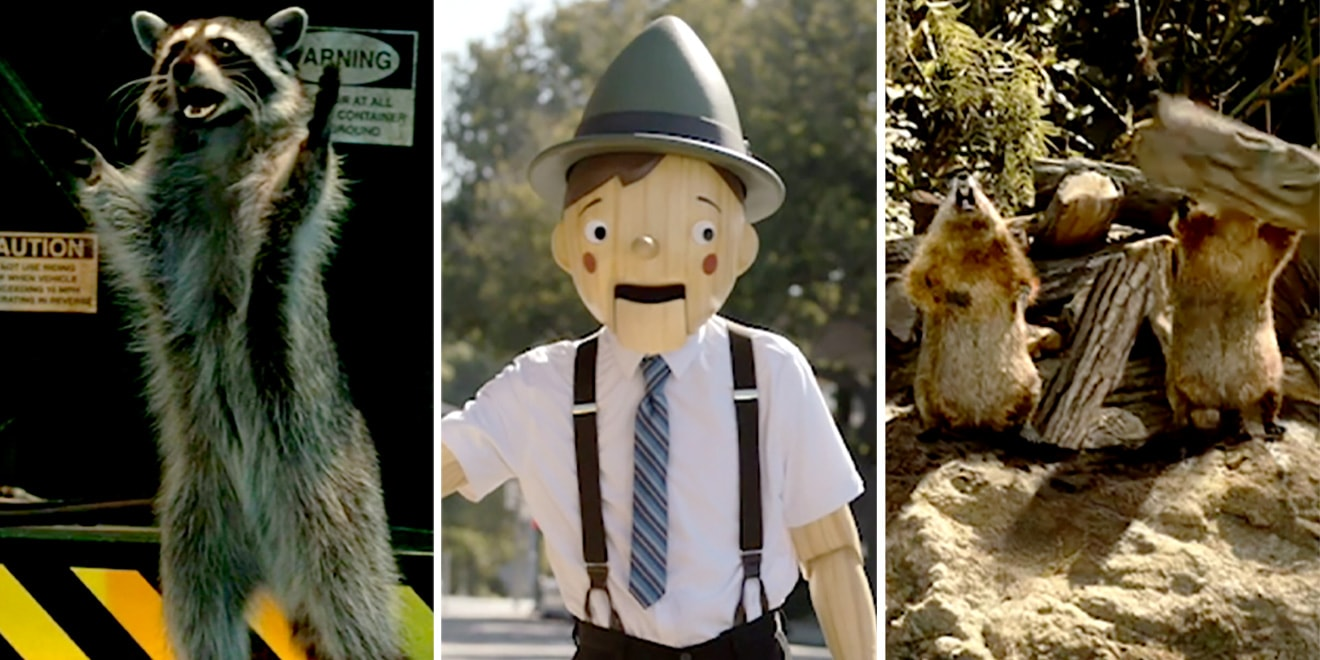 geico insurance's ad stars: raccoons, pinocchio, and the woodchucks