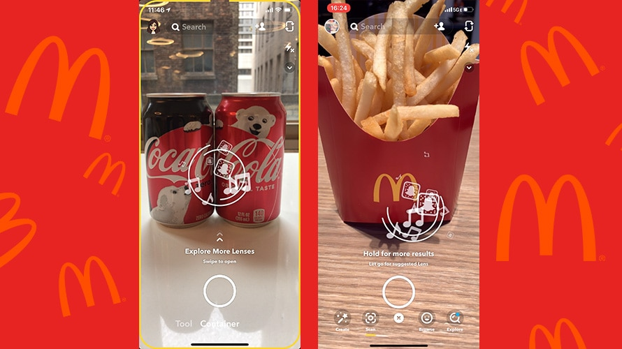 snapchat's lens studio feature pointed at coca-cola and mcdonald's logos