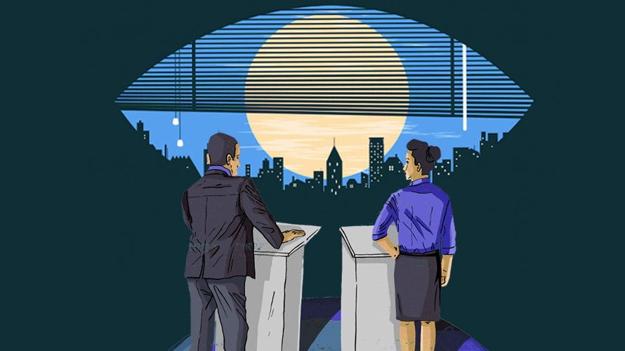 business man and woman standing by a podium looking out into a window shaped eye with the moon and skyline