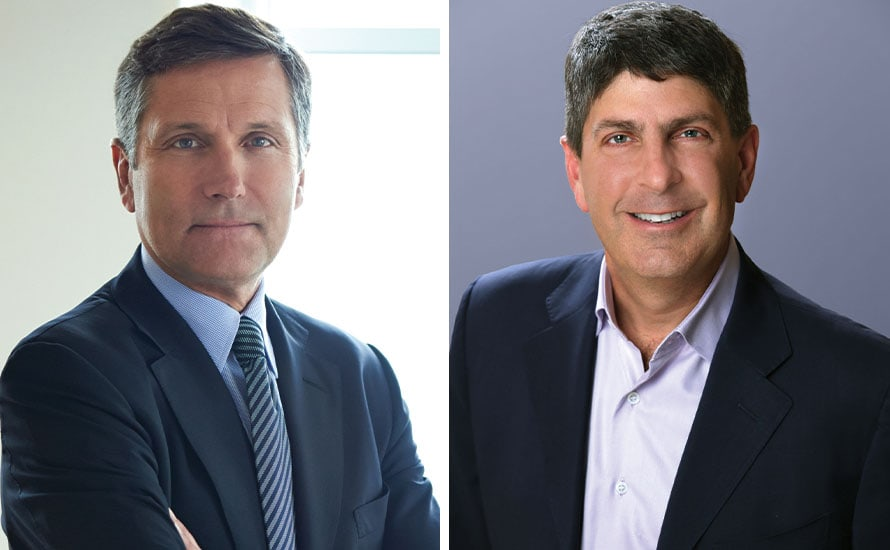 Jeff Shell, right, will replace Steve Burke as CEO of NBCUniversal in January 2020.
