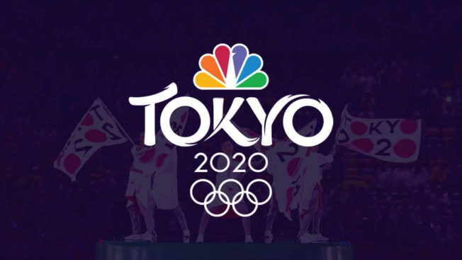NBCU Olympic Tokyo 2020 logo on top of an image of people waving tokyo 2020 flag in low opacity