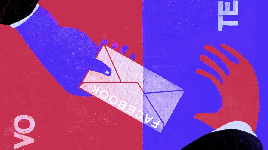 illustration of a blue upside down hand on the left passing a letter with facebook logo on it to another hand in red