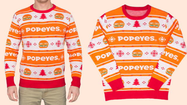 Popeyes ugly holiday sweater