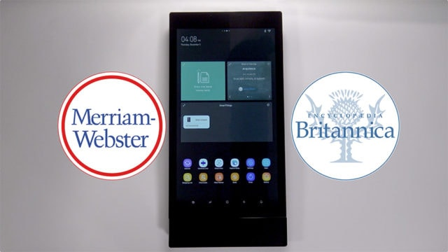 samsung family hub lcd screen showing merriam-webster and britannica apps