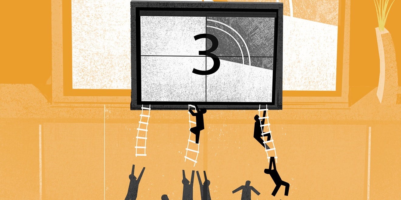 Illustration of shadow figures climbing ladders to a movie countdown screen showing the number 3