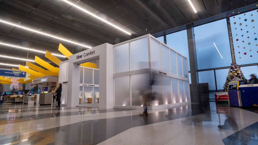 Uber's Comfort Lounge in an airport