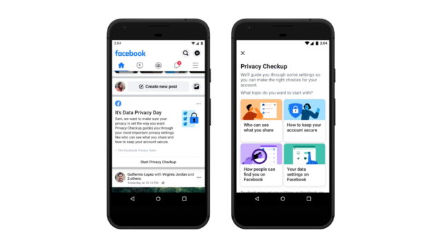 Two smartphones side by side with Facebook open to an announcement about Data Privacy Day and a privacy check-up page