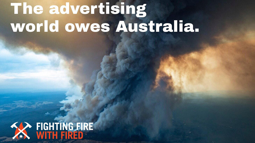 aerial image of Australia wildfires with text