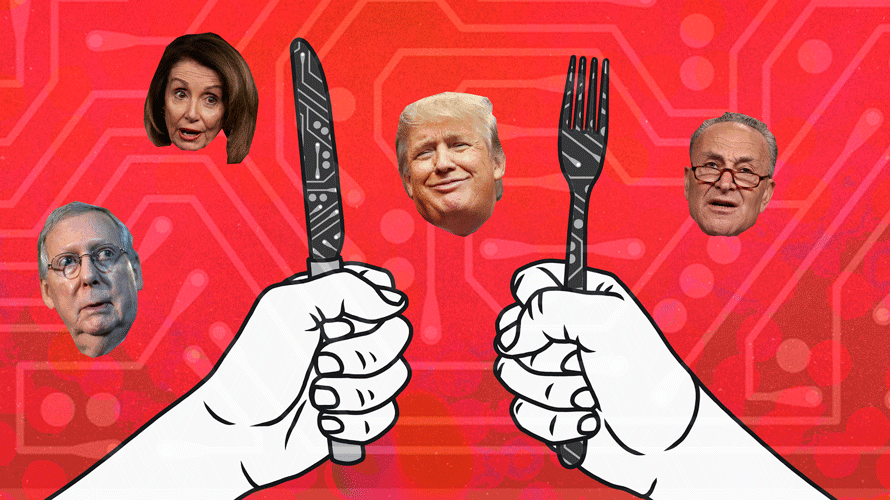 illustration of hands with robotic knife and fork; mcconnell's head, pelosi's head, trumps's head, and schumer's head