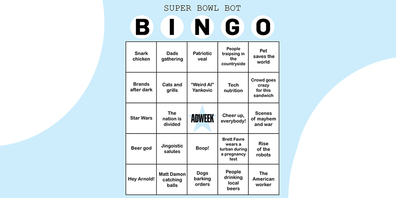 A bingo card that says