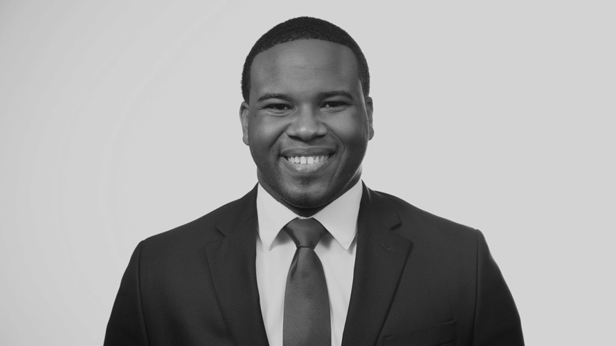 A black and white photo of Botham Jean