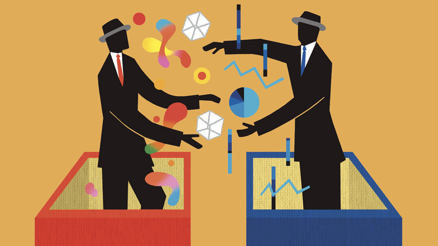 Illustration of two creative businessmen working together