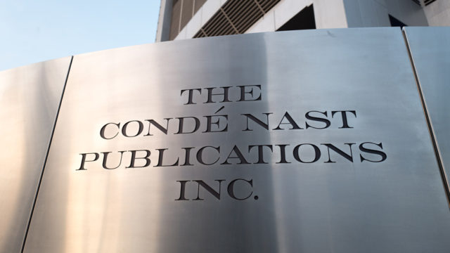 Logo on sign at regional office of Conde Nast publications in downtown Los Angeles, California