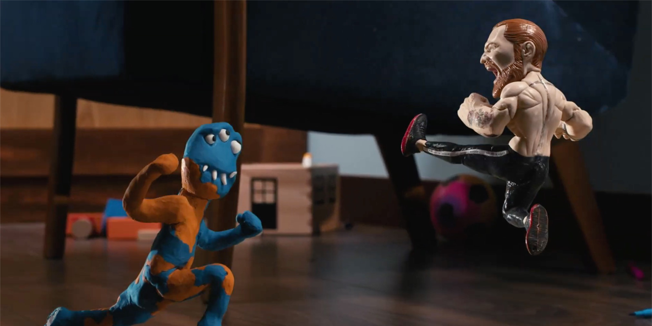 A puppet Conor McGregor fighting a toy