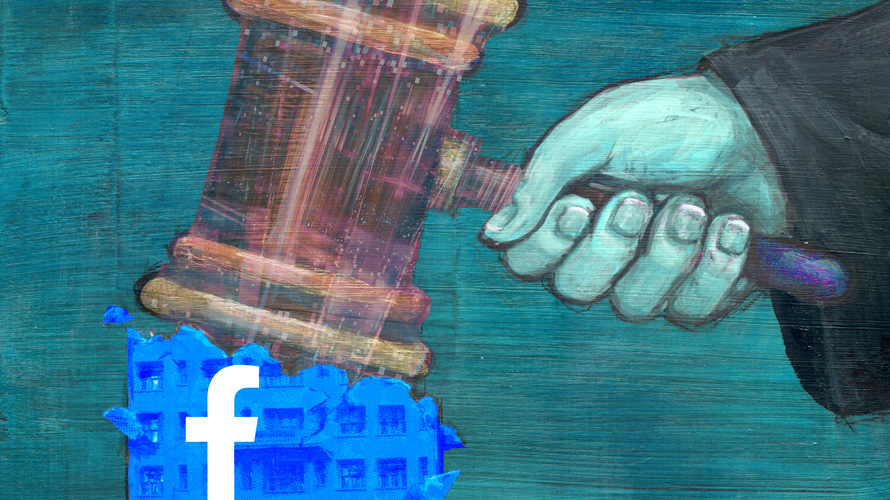 a judge's hand holding a gavel over the Facebook logo