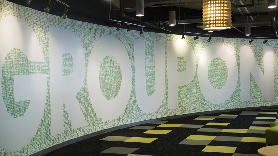 Groupon wall at Groupon HQ