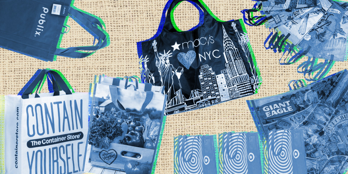 Reusable bags from Publix, The Container Store, Wegmans, Macy