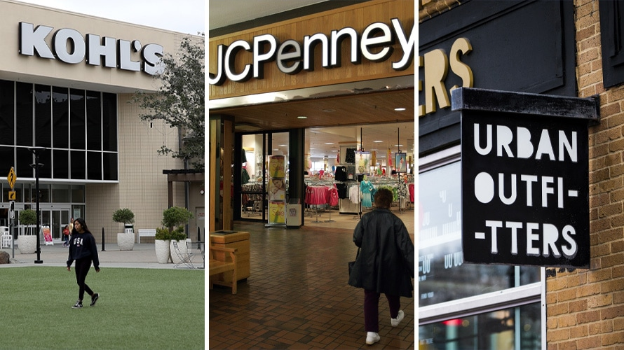 Triptych of Kohl's, JCPenney, Urban Outfitters