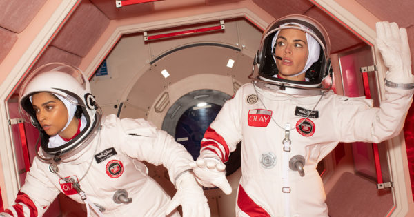 Behind the Scenes of Olay's Star-Studded, Space-Themed Super Bowl Spot With a 'Coded' Message