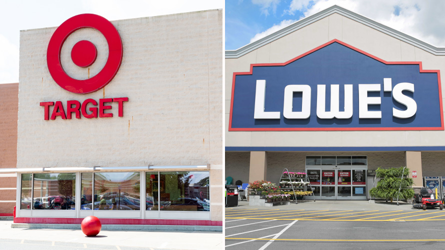 side-by-side storefronts of target and lowe