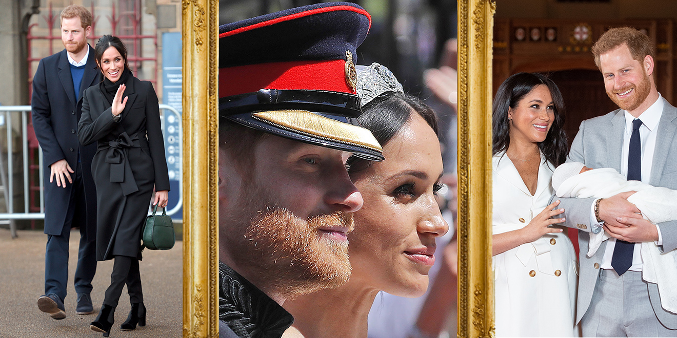a trio of harry and meghan photos