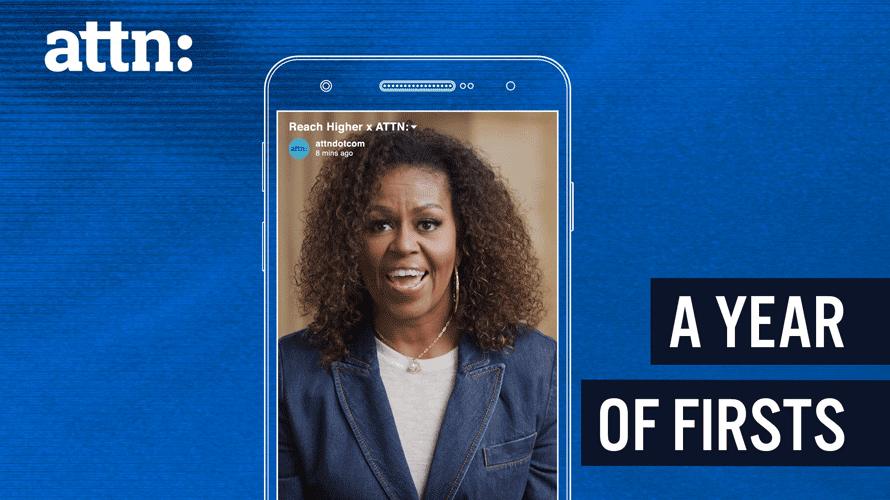 michelle obama in a phone screen that says Attn: A Year of Firsts