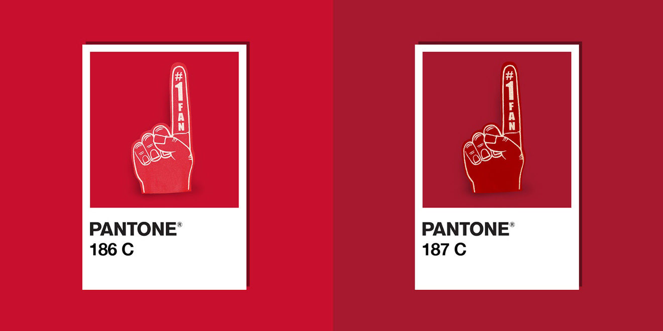 The red colors of the Kansas City Chiefs and San Francisco 49ers are next to each other in Pantone's color code system.