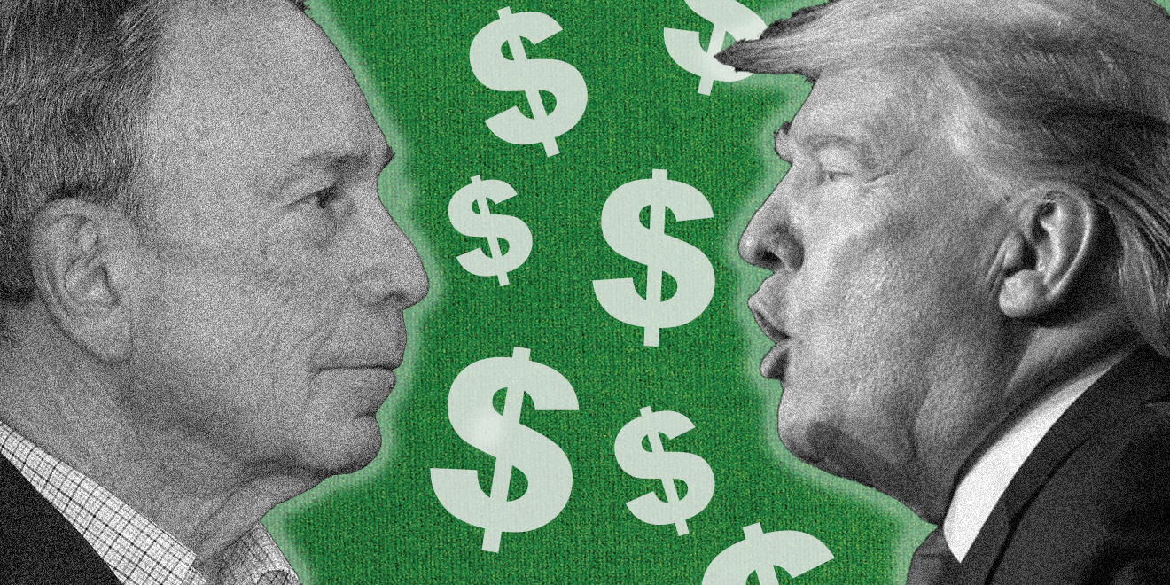 Michael Bloomberg facing off with Donald Trump with dollar signs between them