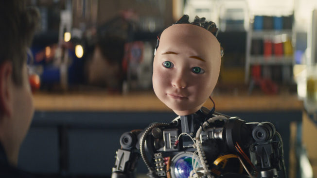 a robot with a small boy's face