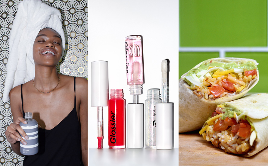 a trio of photos featuring products from dirty lemon, glossier and taco bell