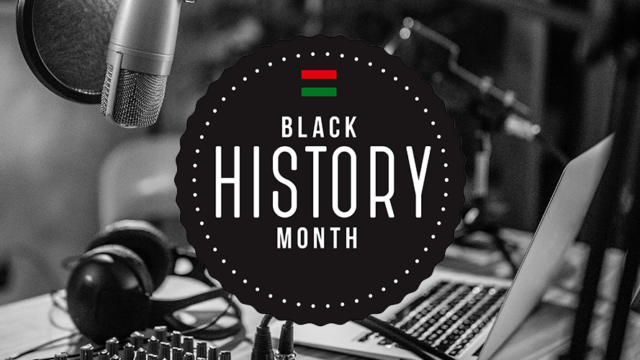what looks like podcast recording equipment and a circle that says Black History Month
