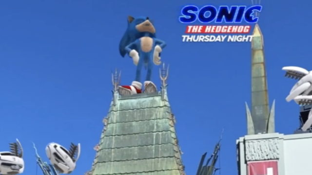 "An image of Sonic the Hedgehog on top of a house with text on the right that says, ""Sonic the Hedgehog Thursday Night"""