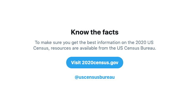 Twitter Rolls Out Search Prompt Triggered by Keywords About 2020 Census
