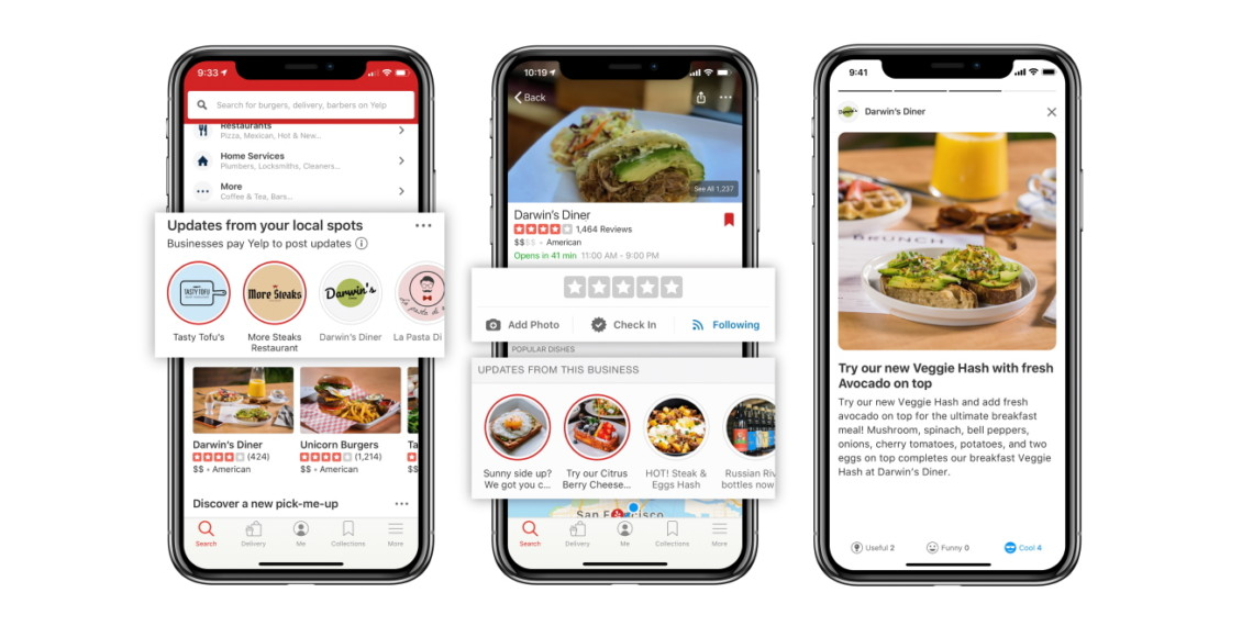 Three smartphone screens next to each other with the Yelp app open