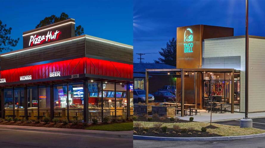 pizza hut and taco bell shops