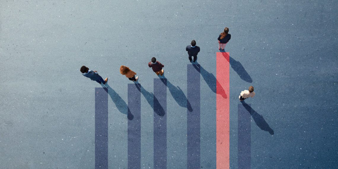 A graphic bar chart with people standing on each bar