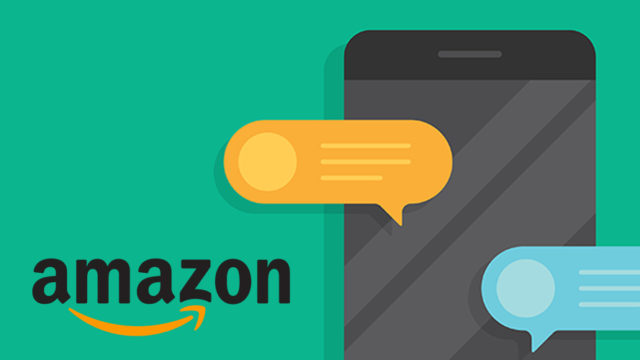 an illustration of a phone with message bubbles next to the Amazon logo