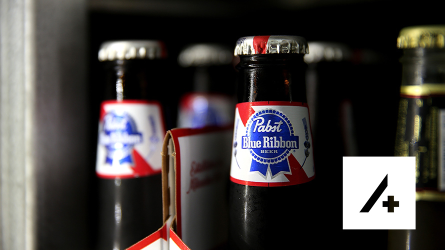 Glass bottle showing Pabst Blue Ribbon label