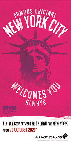 the statue of liberty on a pink background that says nyc welcomes you