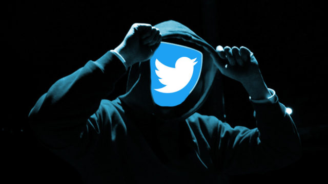 Twitter icon in place of a hooded person's face