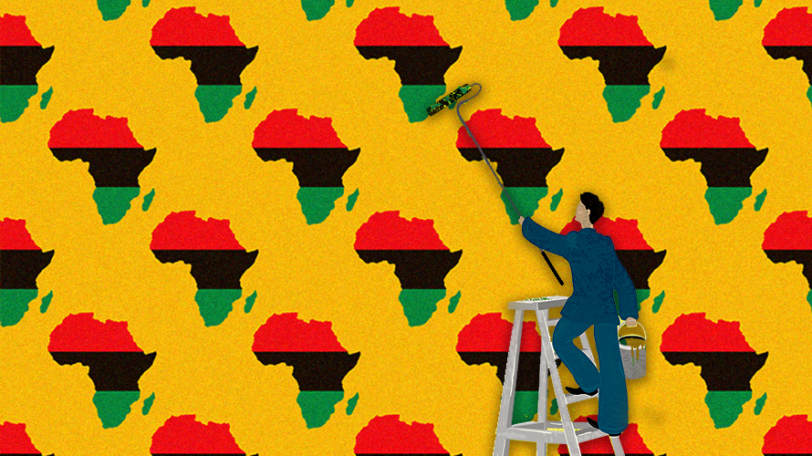 An illustration of a man on a ladder putting up a wallpaper of a map image of Africa