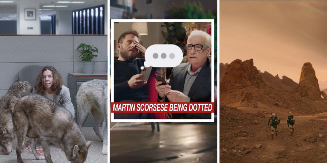 five boxes from super bowl ads, one of a person on a couch, another of people typing with chat bubbles, a shot in the desert