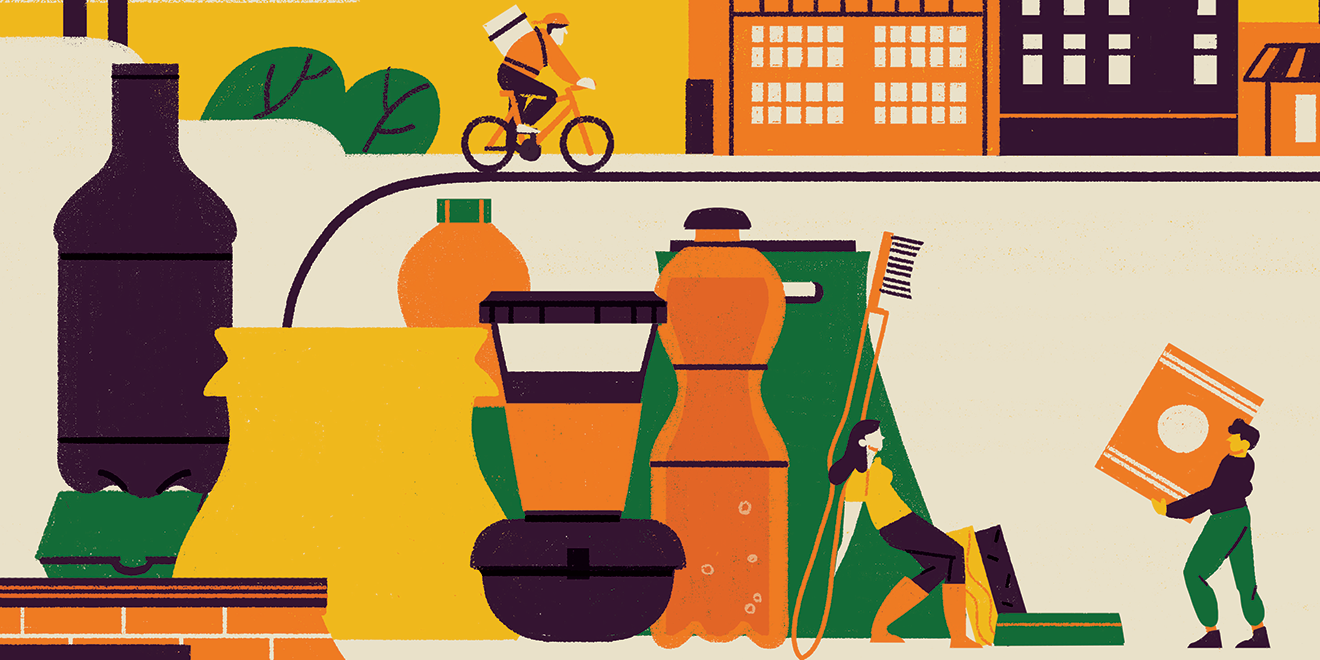 An illustration of a person driving a bike, someone holding up a big toothbrush and someone carrying a box