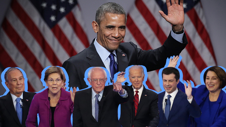 obama waving with the democratic candidates below him