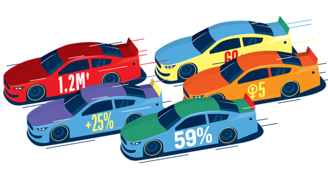 illustration of cars racing