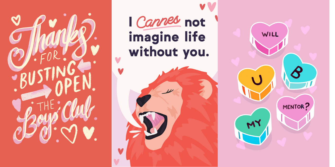 Three different Galentine's Day ecards