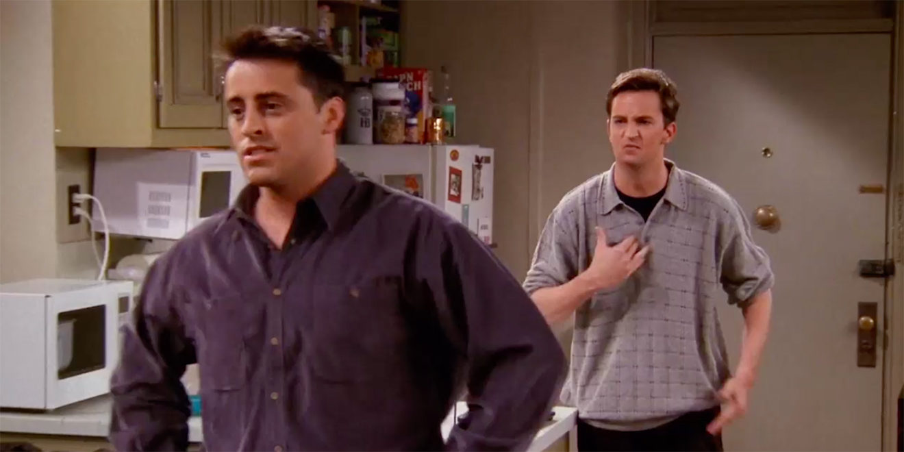 A still of Matt LeBlanc and Matthew Perry from an episode of Friends