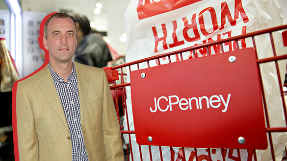 Photo of Shawn Gensch next to a shopping card with the J.C. Penney logo
