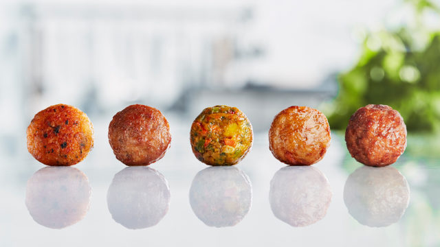 a row of Ikea meatballs
